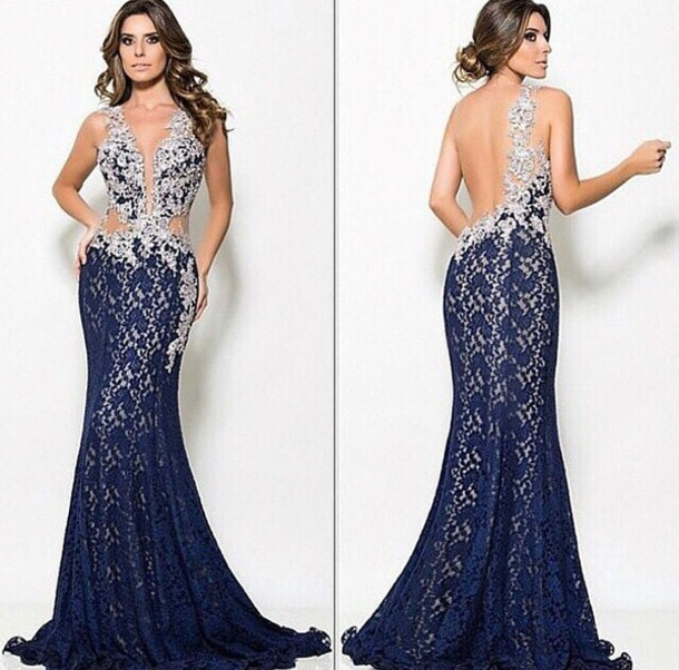 dress blue dress bare back dress floor length dress