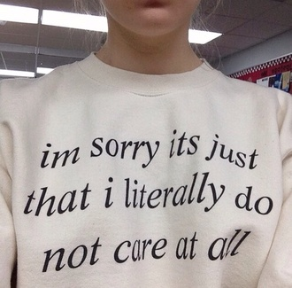 blouse quote on it jumper black writing print do not care white sweater