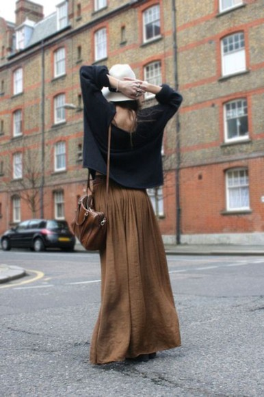 brown skirt maxi skirt skirt black sweater brown purse hat