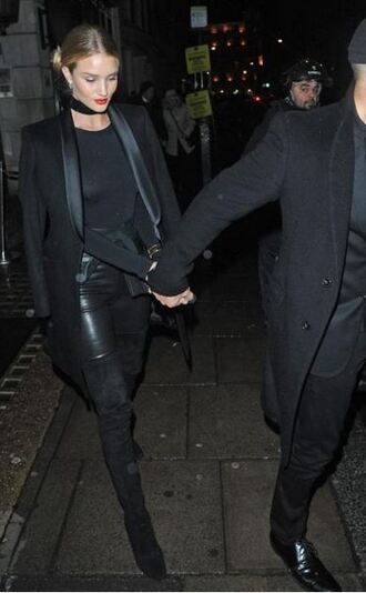 coat rosie huntington-whiteley all black everything leggings pants top