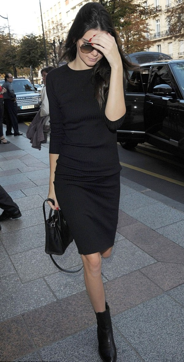 dress black kendall jenner fashion week 2014 streetstyle