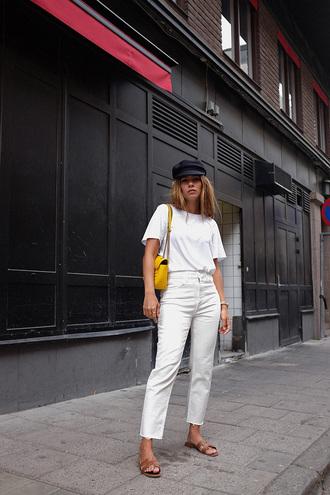 t-shirt tumblr white t-shirt pants denim jeans white jeans shoes slide shoes hat bag