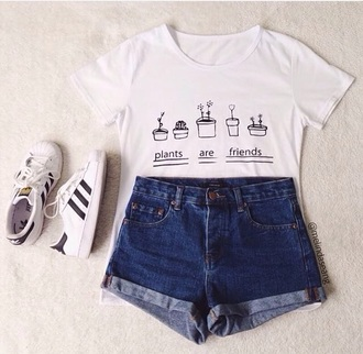 shorts top white crop tops graphic tee cute outfits shoes jeans grunge vintage indie high waisted shorts cuffed shorts shirt plants white white t-shirt cute quote on it tumblr aesthetic adidas dark wash denim high waisted denim shorts