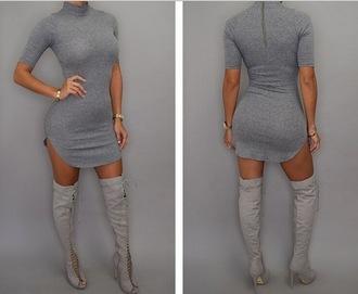 dress grey dress zipper dres t-shirt dress winter dress all grey everything