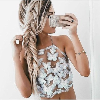 top crop tops butterfly white