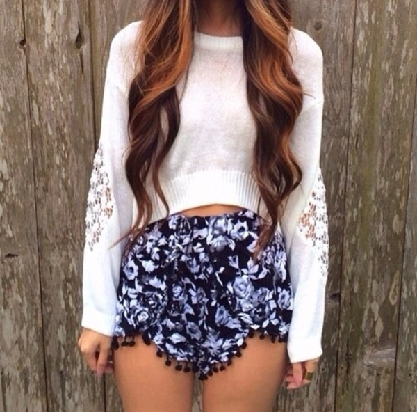 shorts pretty blue black white flowy cute sweater