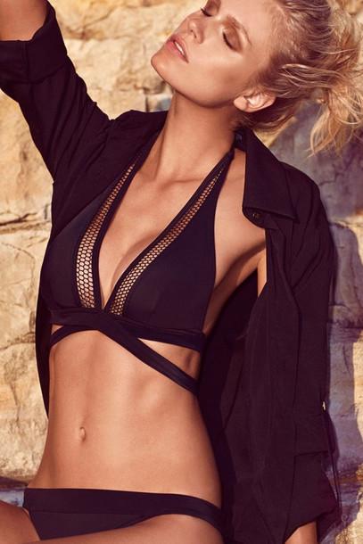 8c8c90340a4 swimwear, bikini, mesh top, black bikini, mesh, black, halter neck ...