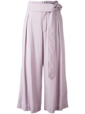 cropped women spandex wool purple pink pants