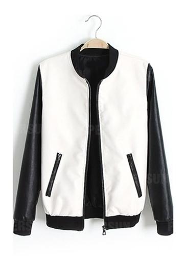 Black White Contrast PU Coat [FEBK0141] - PersunMall.com