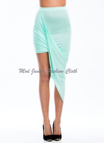 skirt asymmetrical skirt asymmetrical draped draped skirt mint mint skirt mini dress clubwear sexy skirt clothes fashion clothing blogger
