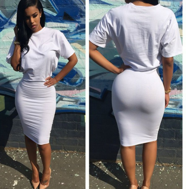 dress sexy women dresses white white dress midi dress loose tight t-shirt dress
