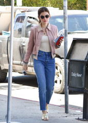 shoes,top,mules,lucy hale,streetstyle,jeans,denim,jacket,celebrity
