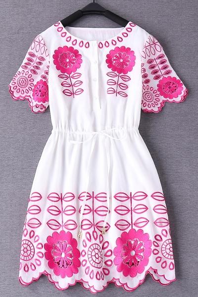 Drawstring Waist Embroidered Dress