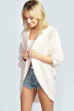 Maddie Pattern Slub Knit Batwing Cardigan at boohoo.com