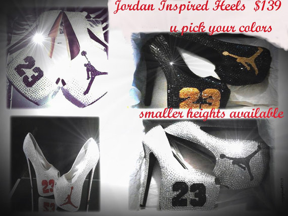 Custom Jordan Inspired Heels BLING by OMGSCUSTOMSHOES on Etsy