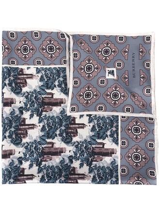women castle scarf silver print silk