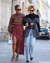 skirt,checkered,wrap skirt,asymmetrical skirt,mid heel sandals,handbag,leather,jeans,belt bag,sunglasses