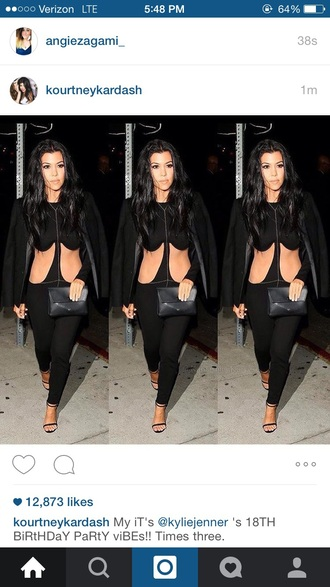 kourtney kardashian black jumpsuit cut-out