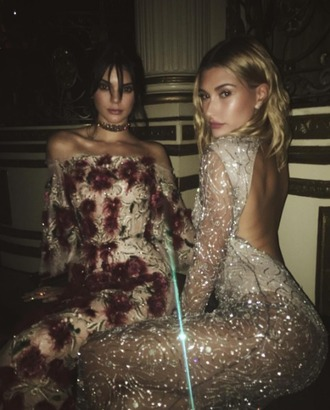 dress tumblr hailey baldwin model celebrity mesh dress kendall jenner floral dress maxi dress gown silver dress long dress long sleeve dress long sleeves off the shoulder off the shoulder dress choker necklace open back open back dresses backless