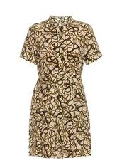dress,shirt dress,mini dress,short sleeve,printed dress,print