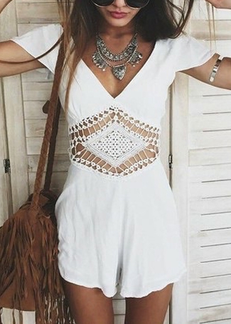 V-Neck Romper with Hollow-Out Waist Detail|Disheefashion