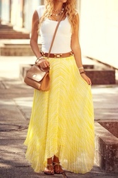 skirt,yellow skirt,long skirt,any color,cute,top,clothes,outfit,maxi skirt,shirt,yellow maxi skirt,dress,blouse,belt,leather,yellow,skirt and belt