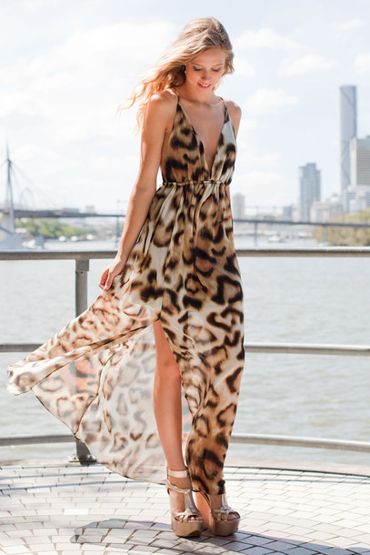 Dress: leopard print, maxi, open back, maxi dress, leopard print ...