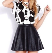 jewels,jewelry,gold,gold necklace,necklace,layered,gold chain,blouse,shirt,mickey mouse,white,t-shirt,top,skirt,black,black and white,skater skirt,black skirt,pu,midi skirt,disney,leather skirt,hair accessory,mouse,disney originals,the best,dress,black and white dress,mickey mouse shirt,cartoon characters,cartoon,cartoon shirt,mikey mouse,forever 21,disney mickey mouse,chain,graphic tee