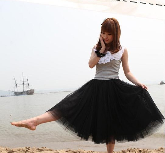 Black free shippingPrincess Fairy Style 5 layers Voile Tulle Skirt Bouffant Puffy fashion skirt long skirts-in Skirts from Apparel & Accessories on Aliexpress.com