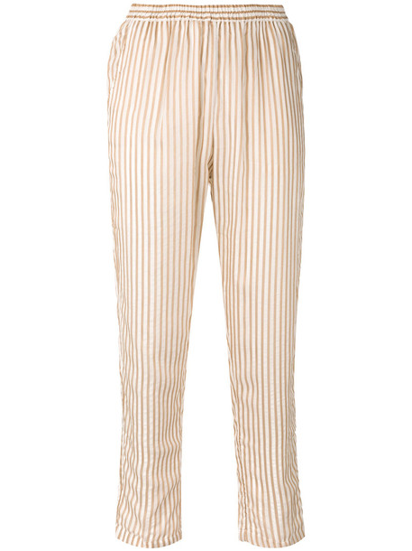 Mes Demoiselles - striped tapered trousers - women - Cotton/Polyester/Viscose - 34, Nude/Neutrals, Cotton/Polyester/Viscose