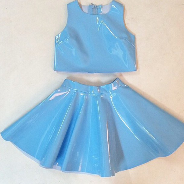 dress top skirt blue metallic metallic two piece dress set halter crop top skater skirt blue