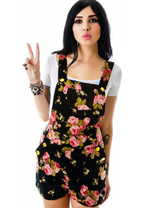 Ark & Co. Dark Thoughts Floral Print Overalls | Dolls Kill