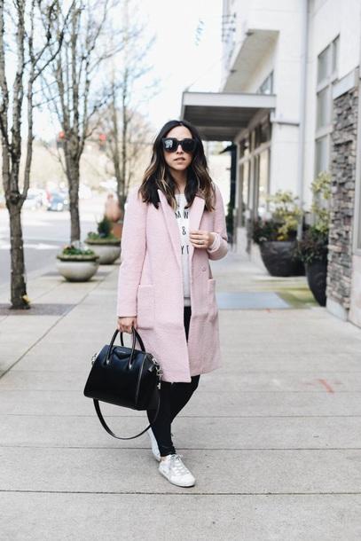 coat pink coat sneakers white sneakers black bag sunglasses black leggings leggings bag
