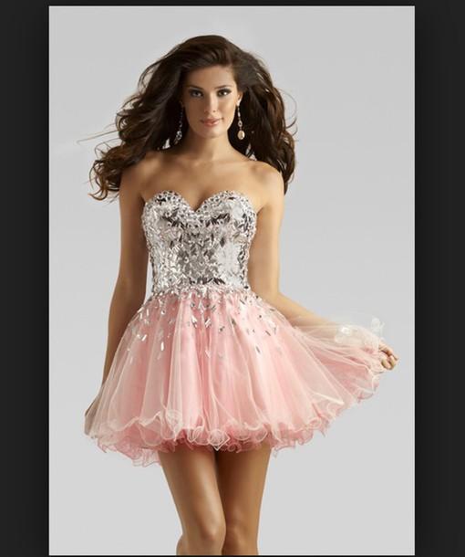 dress pink dress homecoming dress sparkly dress pretty fancy