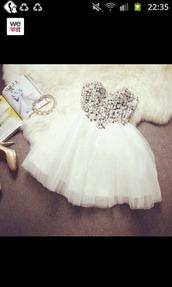 robe,blanche,strass,strass paillettes l,white dress,prom dress,dress
