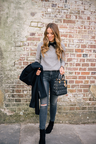 gal meets glam blogger coat sweater jeans shoes bag jewels grey sweater dior bag handbag skinny jeans ankle boots