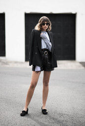 theedit,blogger,shorts,t-shirt,coat,top,shoes,bag,shirt,jacket,black jacket,leather shorts,black shorts,loafers