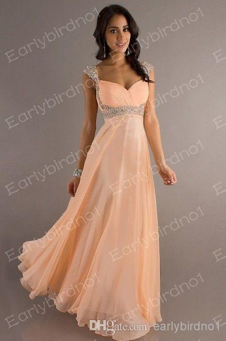 Buy 2014 cheap prom dresses sexy v neck sequins crystals ruffle chiffon empire backless floor length long evening gowns dj8671, $93.42