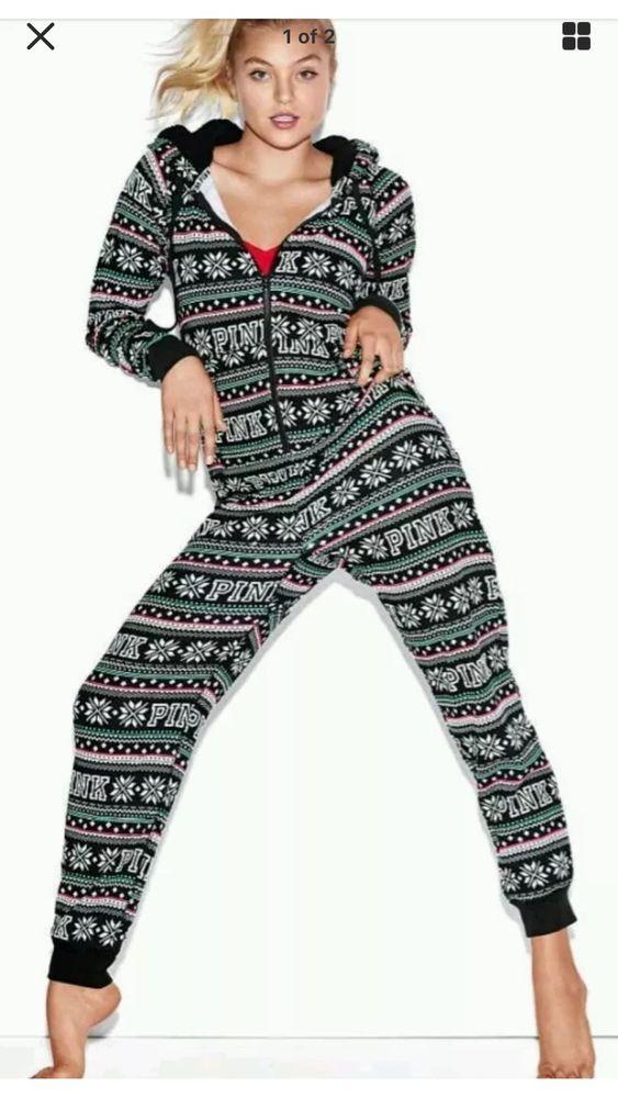 Secret PINK Sherpa Onesie Pajama Fairisle Long Jane PJ Black Size M