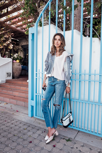 vivaluxury - fashion blog by annabelle fleur: nyfw mini moment blogger jacket sweater bag jeans sunglasses slingbacks spring outfits