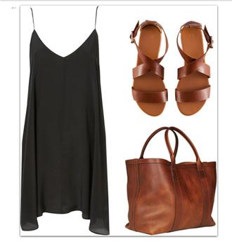 dress spaghetti strap black dress v neck silk shoes bag minimalist