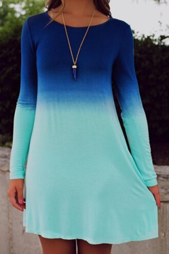 dress blue sweater fall outfits casual ombre cool trendy fashion style long sleeves