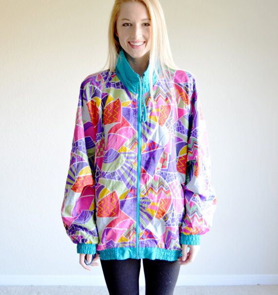 Sale sale vinage casual isle reversible windbreaker colorful teal zip up two sided hipster jacket athletic wear jogging oversize large plus