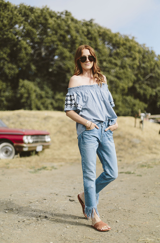 could i have that blogger peasant top blue top boho top boho straight jeans red hair spring outfits aviator sunglasses
