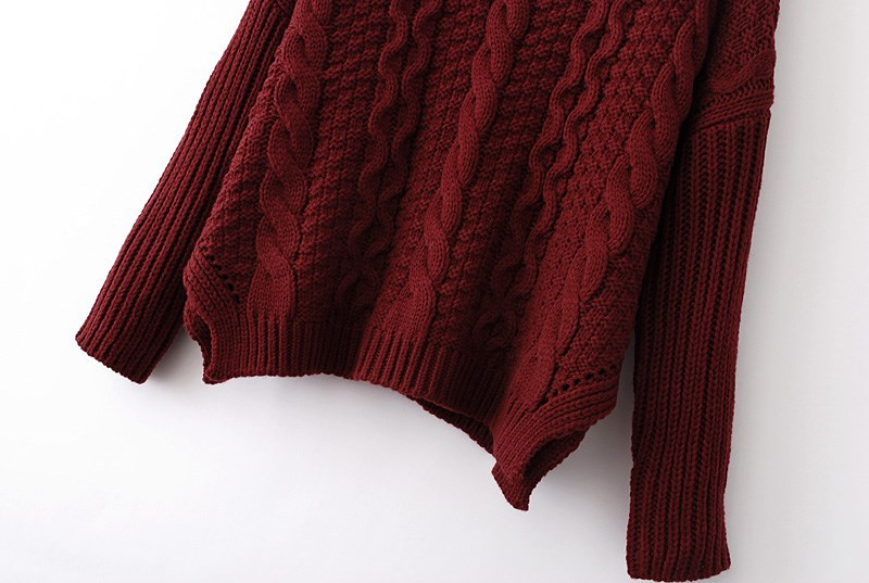 Wine Red Long Sleeve Cable Knit Loose Sweater - Sheinside.com