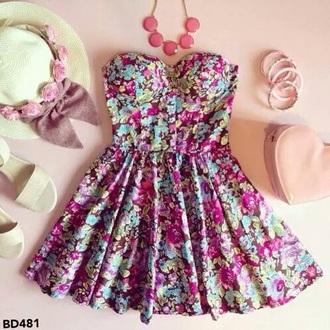 dress flowers bustier robe.dress