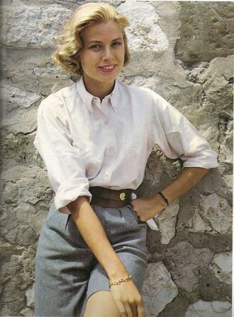 shorts grace kelly actress grey shorts waist belt belt shirt white shirt hairstyles retro