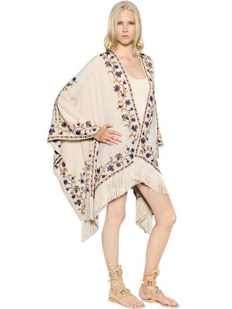 cape embroidered silk beige top