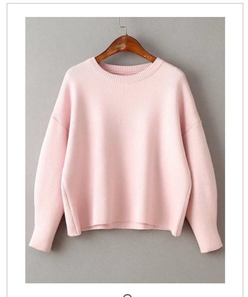 Sweater: pink sweater, sweater dress, pale pink sweater - Wheretoget