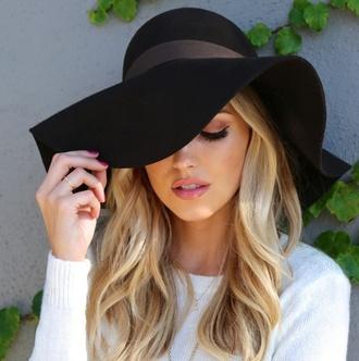 hat floppy hat black hat